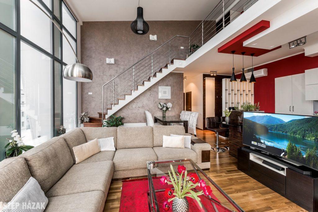 Loft jellegű lakás a Duna parton - nappali-étkező tér kialakítása   belsőépítészeti generálkivitelezés: Bergmann Kft. lakberendező, tervező: www.flatart.hu